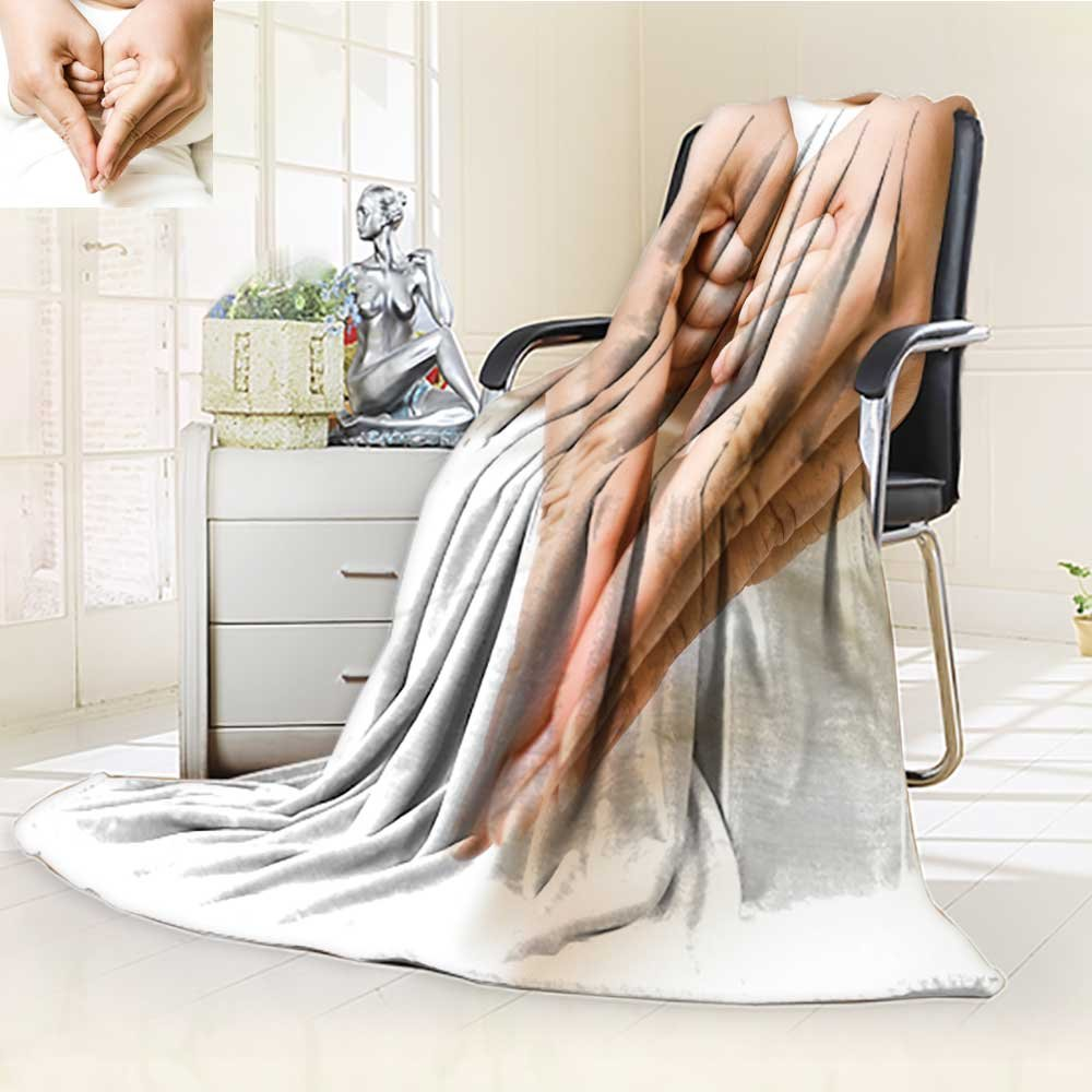 Microfiber Fleece Comfy All Season Super Soft Cozy Blanket baby holding mother finger and together form a heart shape by hand for Bed Couch and Gift Blankets(90''x 70'')