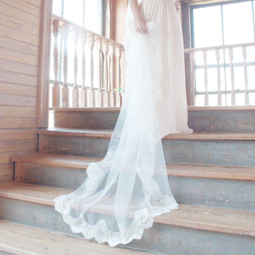 Ivory Lace Cathedral Mantilla Veil with Eyelash Trim by The Mantilla Company