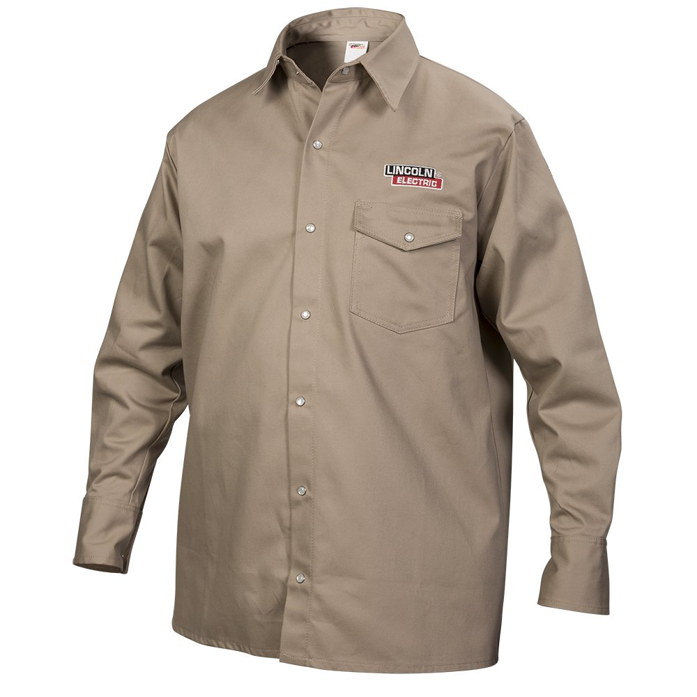 Lincoln Electric Khaki Medium Flame-Resistant Cloth Welding Shirt