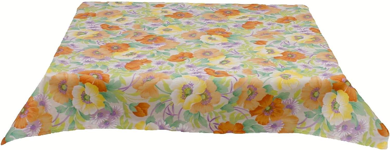 Outdoor Tischdecke Blumen Hellblau Wasserabweisend Schmutzabweisend Tischwäsche
