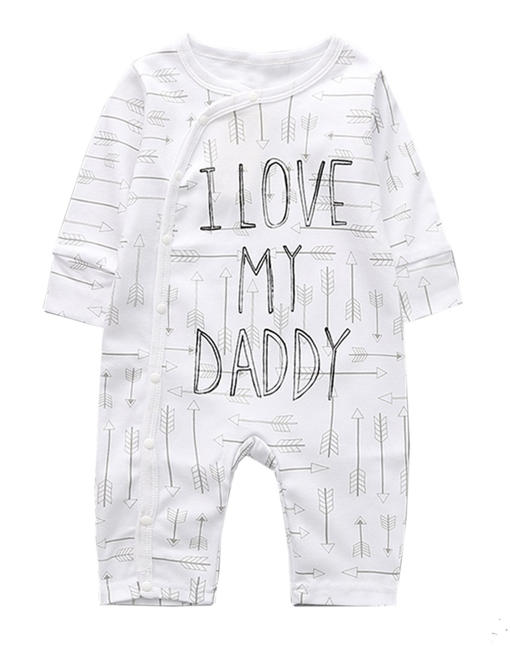stylesilove Unisex Infant Baby Fall Long Sleeve Character Print Cotton Romper Jumpsuit (95/18-24 Months, White I Love Dad)