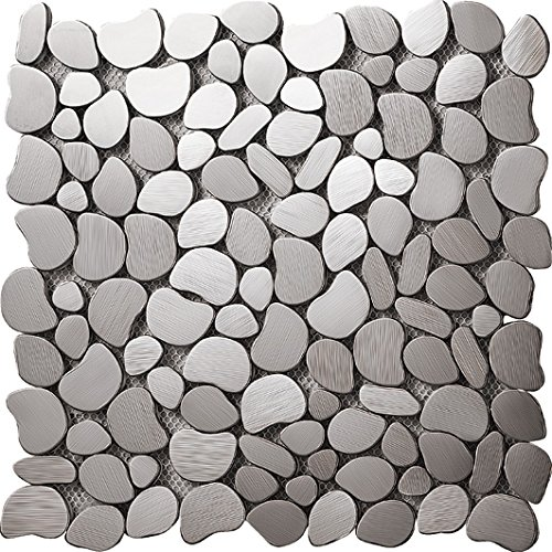 (River Rock Pattern Mosaic Stainless Steel Silver Metal Tile- Kitchen Backsplash / Bathroom Wall / Home Decor / Fireplace Surround- SA152 (11PCS 10.76Sq.ft))