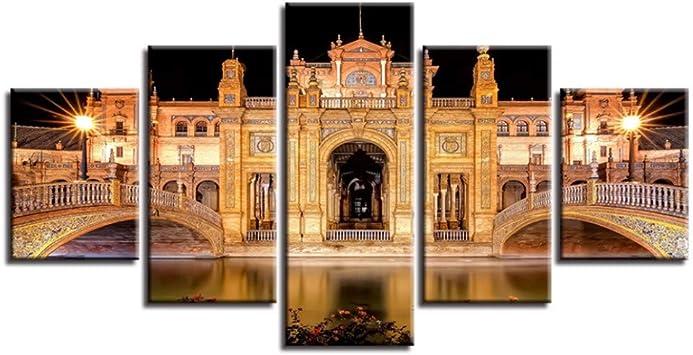 Wymw Lienzo Hd Imprime Cuadros Modulares 5 Unidades Plaza De España Pinturas Arte De La Pared Renacimiento Edificio Cartel Decoración Para El Hogar-40X60/80/100Cm,Without Frame: Amazon.es: Bricolaje y herramientas