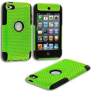 myLife Lime Green + Black Slim (Full Body Mesh) for Apple iPod Touch 4 (4G) 4th Generation iTouch Soft Gel Silicone Protective Tough Case {Ultra Durability Guarantee + 2 Piece Armor Commuter}