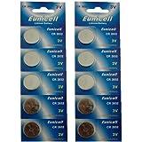 10er Set CR2032 3V Lithium Knopfzellen 210 mAh Markenware Eunicell