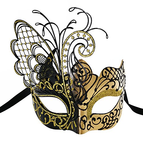 CCUFO [Flying Butterfly] Gold/Black Face with [Sparkling Wing] Laser Cut Metal Venetian Women Mask for Masquerade/Party/Ball Prom/Mardi Gras/Wedding/Wall Decoration -