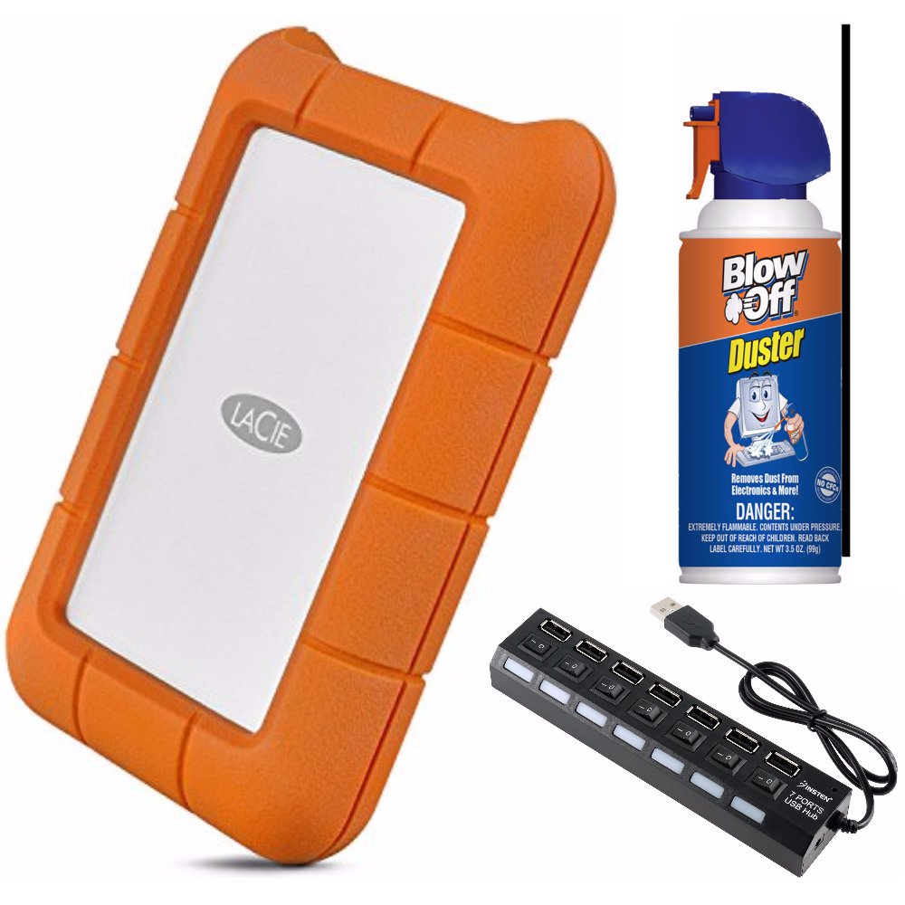 LaCie Rugged USB-C and USB 3.0 1TB Portable Hard Drive - STFR1000800 bundle