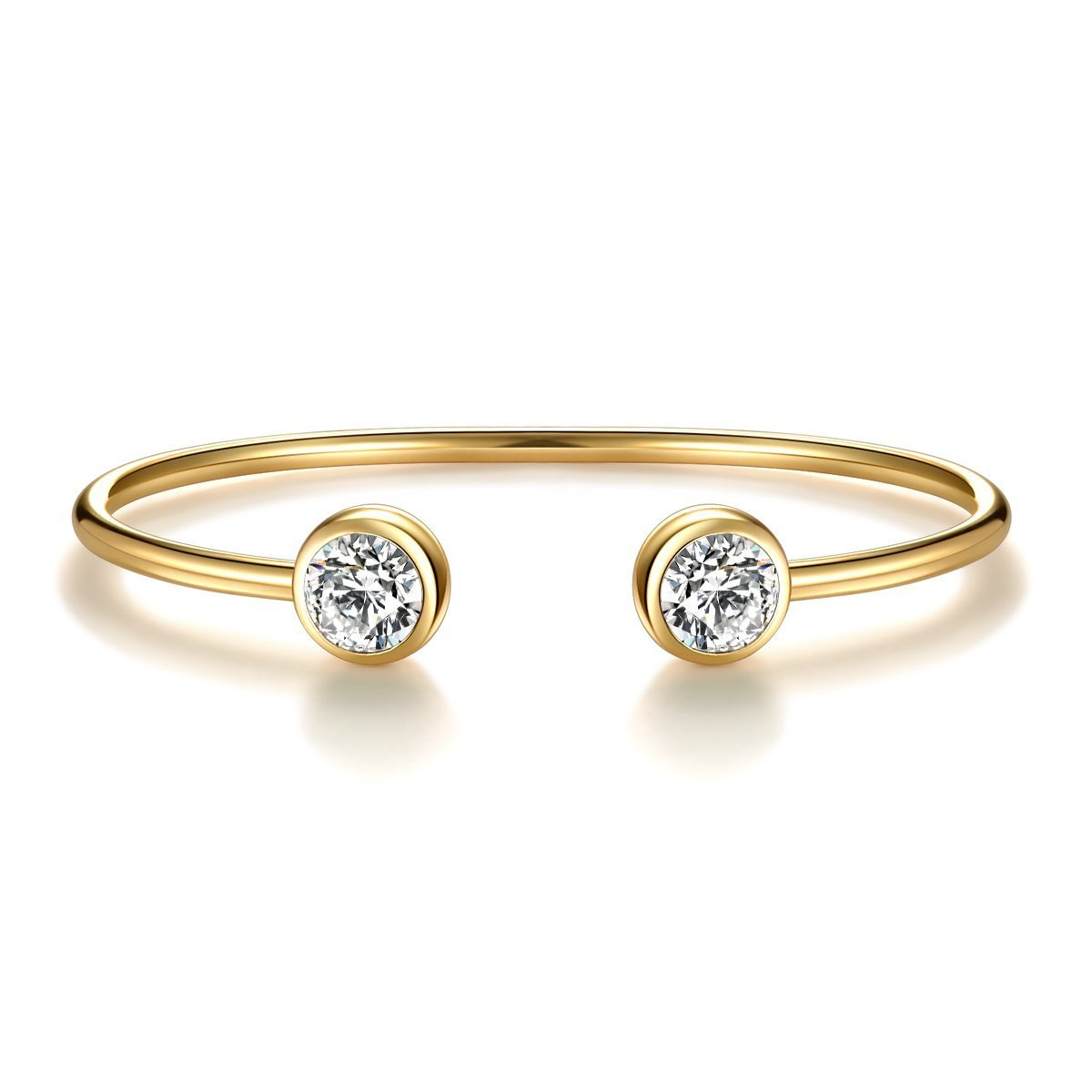 ISAACSONG.DESIGN Rose Gold Silver Tone Cuff Bangle Bracelet Zirconia Crystal Stone Jewelry for Women (Yellow Gold)