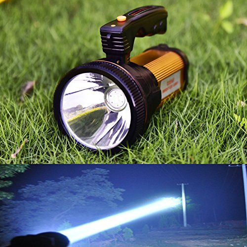 Odear Super Bright Torch Searchlight Handheld Portable LED Spotlight USB Rechargeable Multi-function Flashlight Outdoor Long Shots Lamp (Best Long Distance Flashlight)