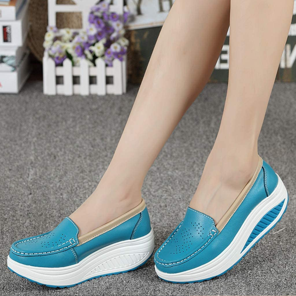 Dainzuy Womens Slip On Breathable Walking Shoes Comfort Wedge Platform Sneakers Working Nursing Shape Shoes