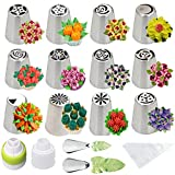 Cofe-BY Russian Piping Tips Set 26pcs, Cake Decorating Supplies Icing Tips Pastry Frosting Nozzles (12 Flower Tips + 2 Leaf Tips + 2 Couplers + 10 Disposable Pastry Bags)