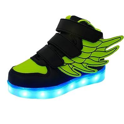 Mit Jungen Usb Iikids Für Leuchtend Mädchen 7 Sport Schuhe Aufladen Sneaker Led Turnschuhe Lichtfarbe 4 Farbe Kinder Sportschuhe Flügel Pu D9IWEH2