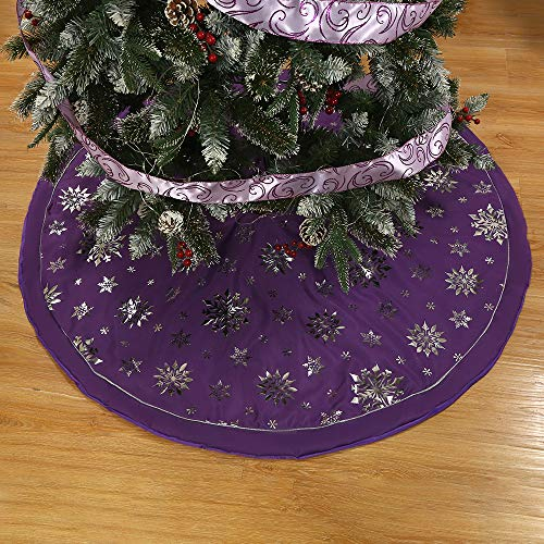 wlflash Christmas Tree Skirt 48 inch Xmas Holiday Decorations Tree Ornaments Indoor Outdoor (Purple Imitation Cotton)