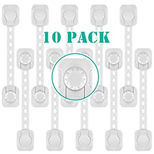Cabinet Locks (10 Pack) Child Proof Cabinet Locks Upgraded Double Lock System Hard for Kid to Open Drawer Locks Child Safety Adjustable Refrigerator Lock for Cabinet, Drawer, Fridge No Drilling Needed