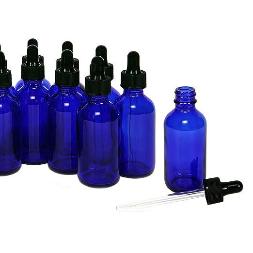 Magic Show 12 piezas 1oz (30ml) azul cobalto de cristal redondo con botellas de cristal, goteros de aplicador): Amazon.es: Industria, empresas y ciencia