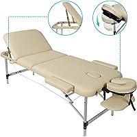 Naipo Table de Massage Lit 3-Section Portable Table Canapé Pieds en Aluminum pour Massage Spa Tatouage et Soins du Visage - Beige (poids Capacité: 270kg)