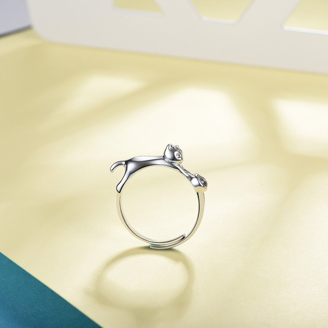 Happy Cat Ring Open Design with Rainbow Cubic Zirconia 925 Sterling Silver Ring Lovely Girls Women Fine Jewelry by SILVERCUTE (Image #7)