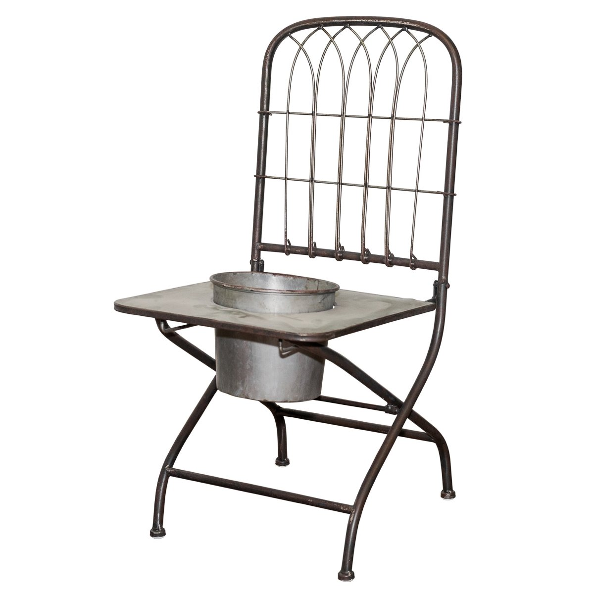 VIP Home Garden FH1730 Metal Chair Planter Gray by VIP Home Garden