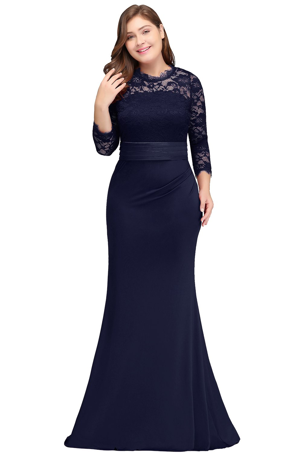 Women Plus Size Formal Evening Dress With Sleeve Navy Blue 14w