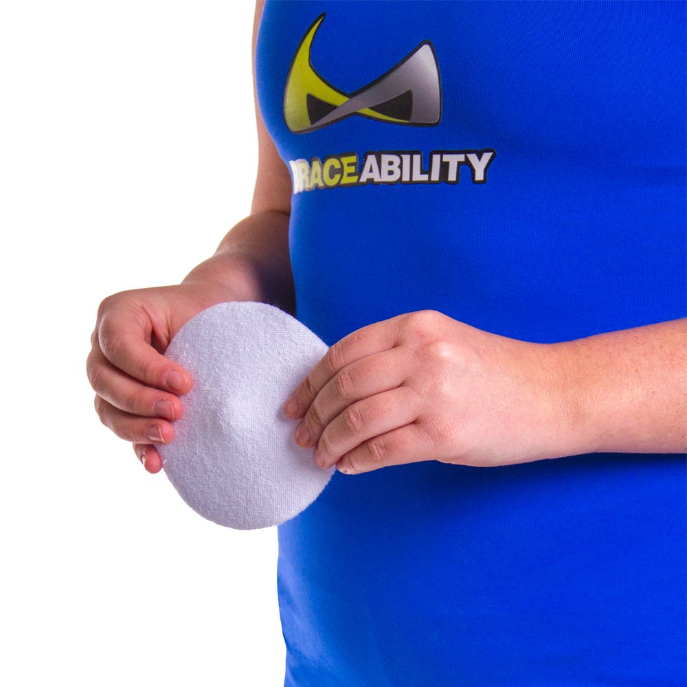 BraceAbility Hernia Belt Replacement Pad | Silicone Pad with Soft Fabric Cover, Attaches to Elastic Binders and Belts to Prevent Hernia from Popping Out