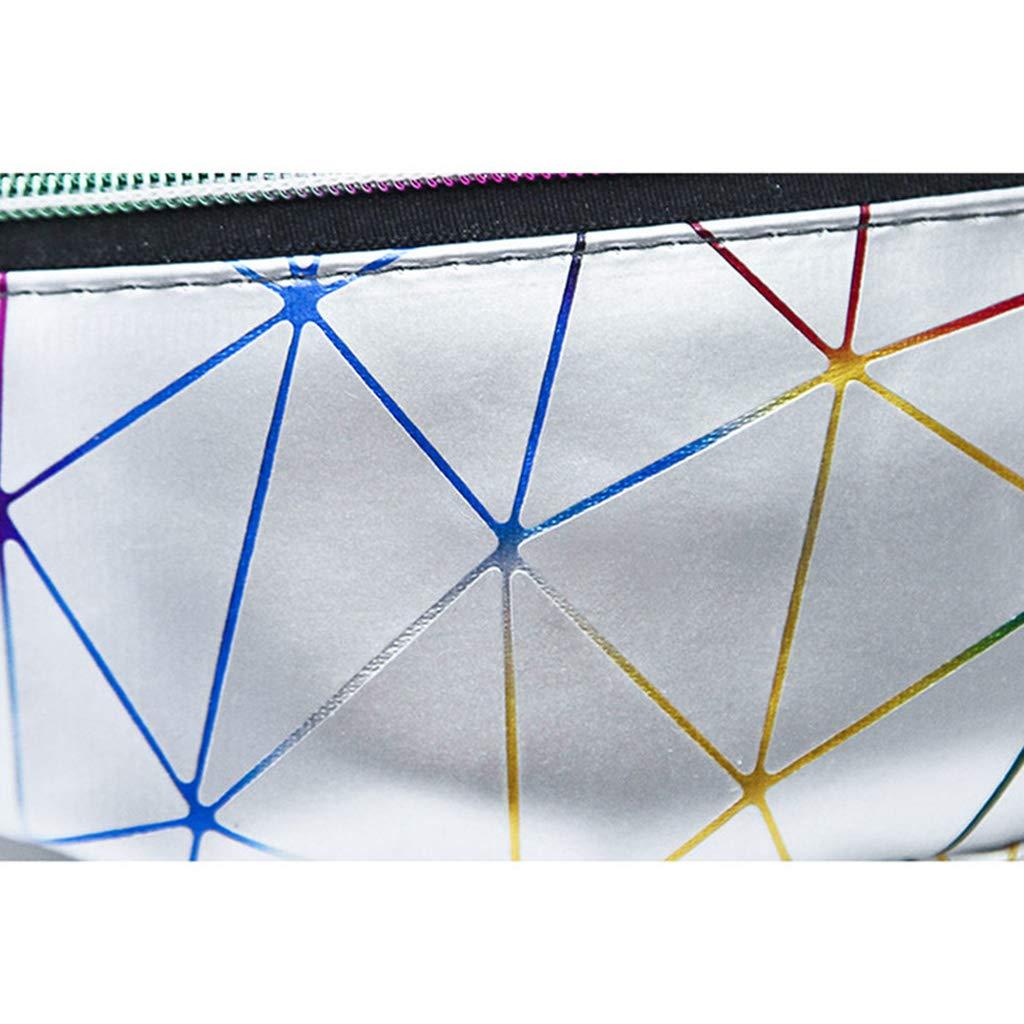 Yellowfong Sac banane holographique pour femme Motif patchwork M Silver