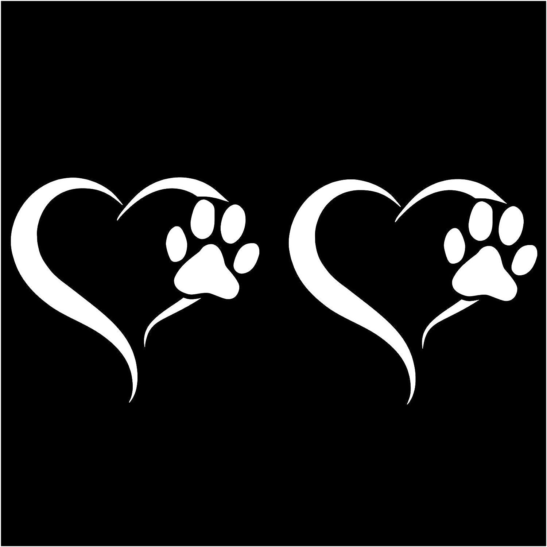 Finest Folia 2er Set Aufkleber Pfote Und Herz 10x11cm Hund Katze Sticker Für Auto Motorrad Wand Laptop Möbel Pfotensticker Hundepfote Selbstklebend K017 Weiß Auto