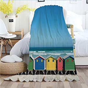 """Ylljy00 Travel,Throw Blankets,Flannel Plush Velvety Super Soft Cozy Warm with/Colorful Bathhouses at Muizenberg Cape Town South Africa Standing in a Row Touristic/Printed Pattern(70""""x 90""""),Multicolor"""