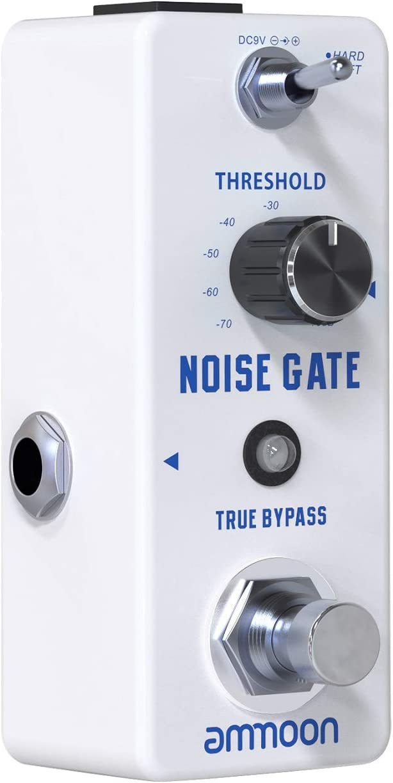 ammoon Noise Gate, Puerta de Ruido Reducción de Ruido Pedal de Efecto de Guitarra 2 Modos (duro/suave) Carcasa de Metal Completo True Bypass para Guitarra Eléctrica Baja