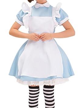 Nuevo de Alicia en el país de personajes de manga japonés camarera disfraz infantil de lolita