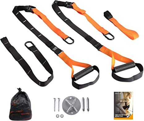 Perfect for Working Out Anywhere iDeer Life Resistance Bands,Gym Fitness Resistance Straps Door Anchor and Portable Travel Bag Whole Body Training Straps Set with Wall Mount
