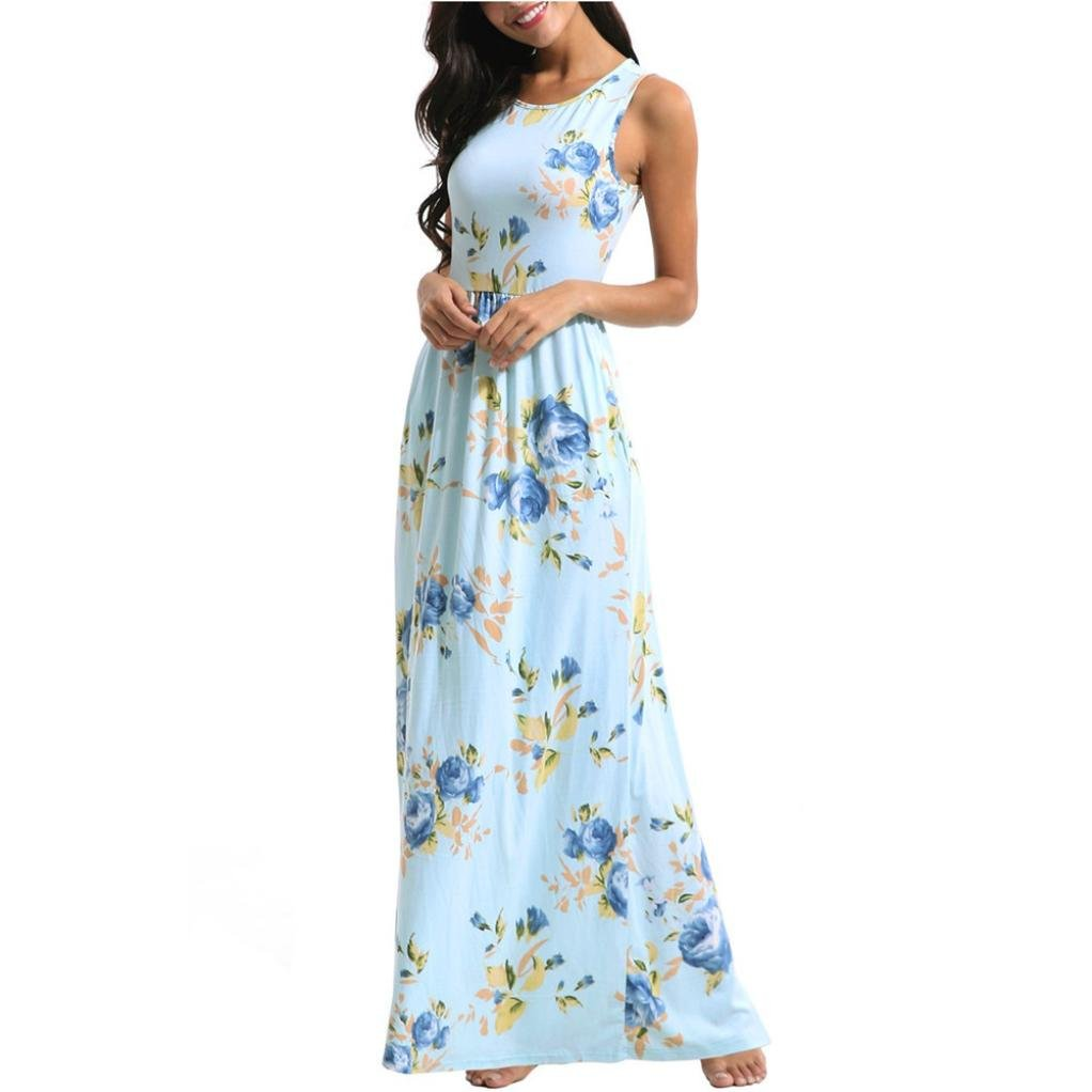 HODOD Women's Summer Floral Print Faux Wrap Maxi Long Dresses (Z-Sky blue, XL)