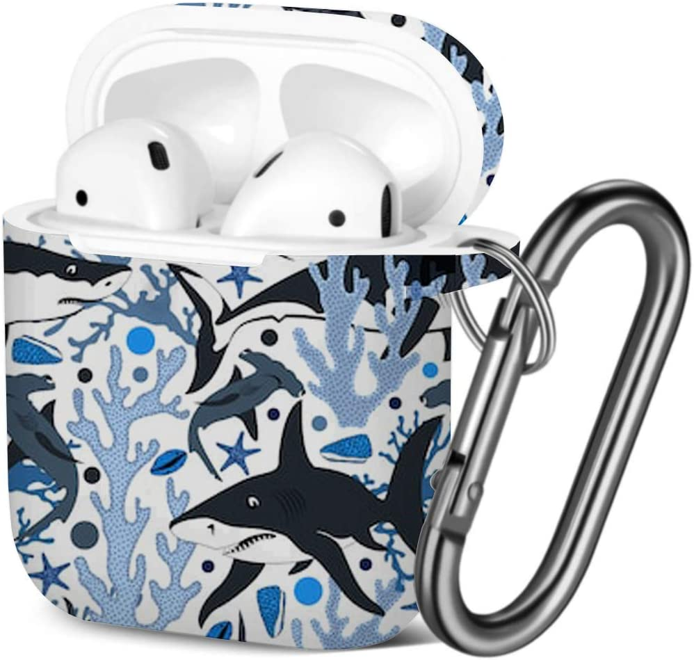 [ Compatible with AirPods 2 and 1 ] Shockproof Soft TPU Gel Case Cover with Keychain Carabiner for Apple AirPods (Sharks Shells Star Fishes Corals)