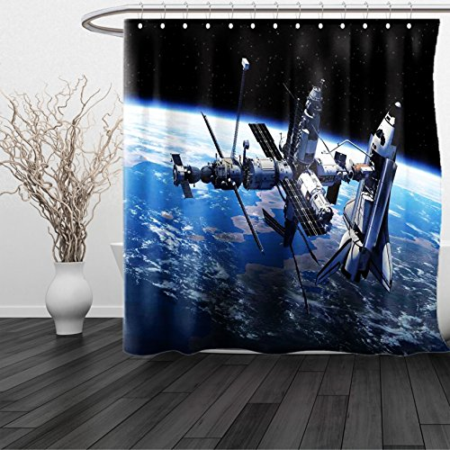 HAIXIA Shower Curtain Outer Space Space Shuttle and Station View Cosmonaut Adventure on the Myst Globe Orbit Off Queen Full Blue Grey Black