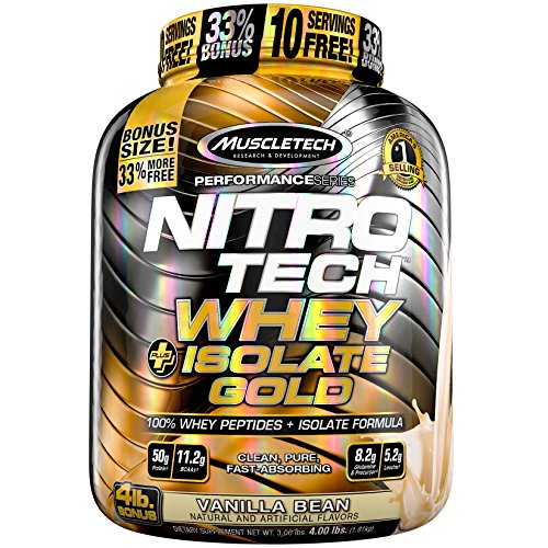 MuscleTech NitroTech Whey Plus Isolate, Vanilla Bean, 4 Pound
