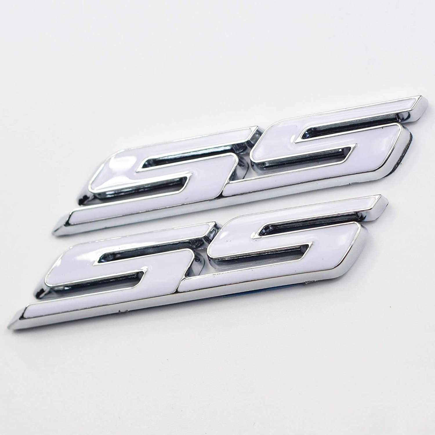 red letter with chrome trim 3 Pieces small Tilt SS Grill Side Trunk Emblem Badge Decal with Sticker for Chevy IMPALA COBALT Camaro 2010-2016
