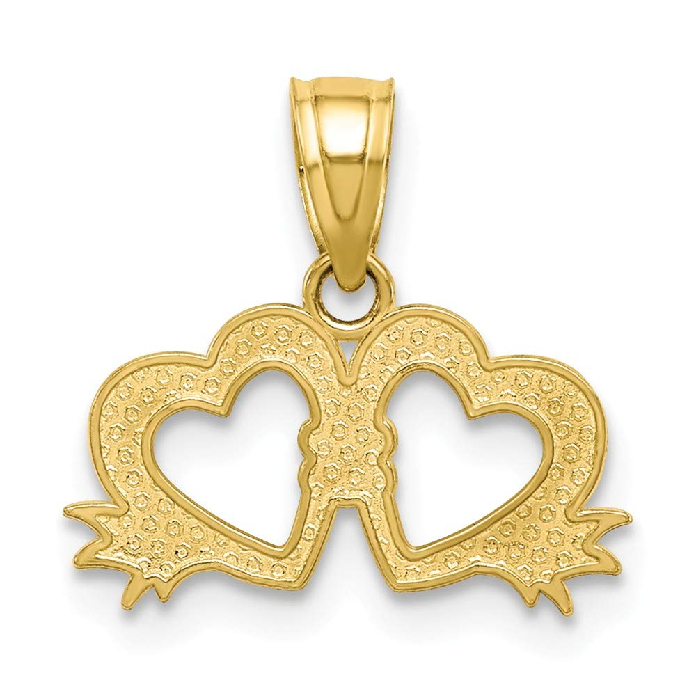 10k Yellow Gold Double Heart Charm