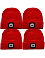 Oumeiou New Warm Bright LED Lighted Beanie Cap Unisex Rechargeable Headlamp Hat Multi-color