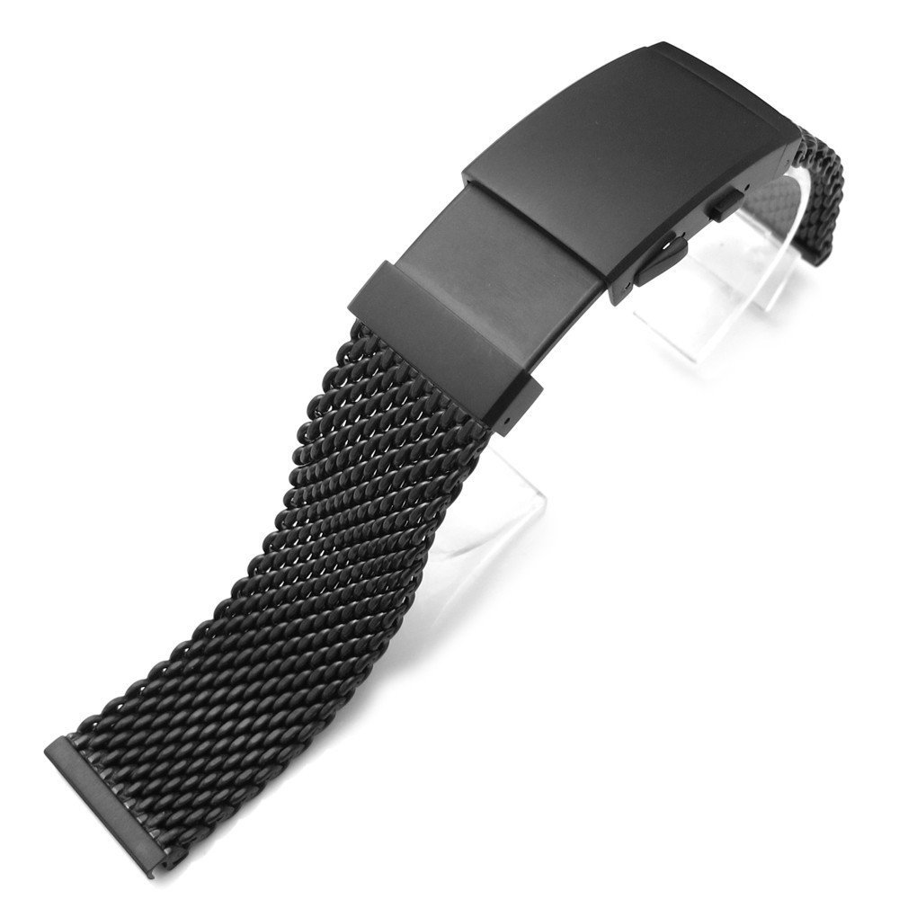 22mm 316L SS Mesh Watch Bracelet, Solid End Lug, Wetsuit Ratchet Buckle, PVD Black, AA by 20mm Mesh Band