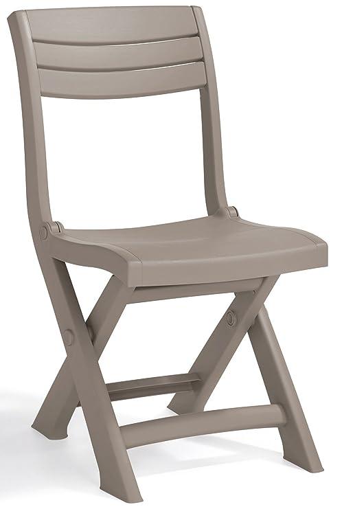 Sedie Di Plastica Pieghevoli.Sedia Poltrona Pieghevole In Dura Resina Di Plastica Tortora