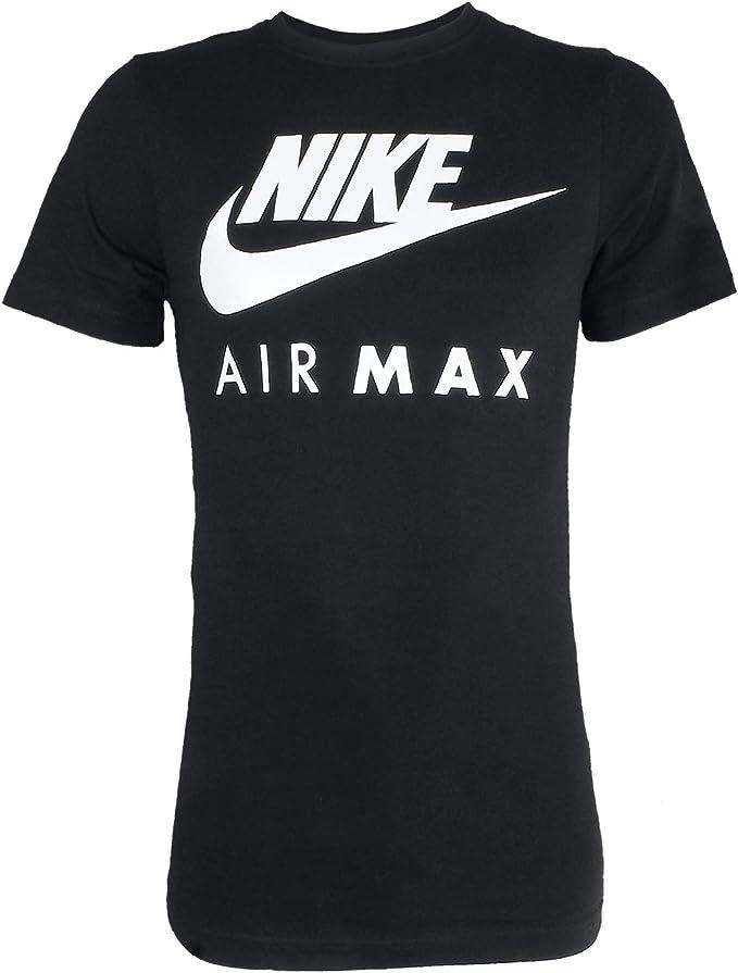Nike Air Max Tee Herren Sport Fitness Baumwolle Shirt T Shirt WeißSchwarz