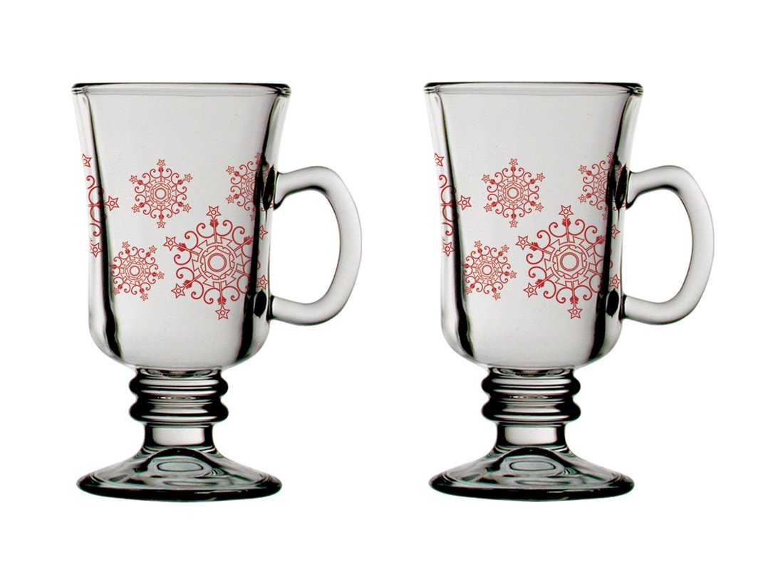 iStyle Christmas Irish Coffee Glass Set of 2, Red Baubles Tradestock