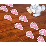 Ocosy 60Pcs Removable Easter Bunny Paw Prints Rabbit Paw Print Floor Decal Clings Easter Party Decorations
