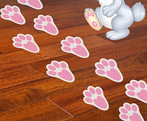 (Ocosy 60Pcs Removable Easter Bunny Paw Prints Rabbit Paw Print Floor Decal Clings Easter Party Decorations)