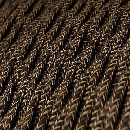 2x0.75 creative cables Cavo Elettrico trecciato Rivestito in Lino Naturale Marrone TN04-1 Metri
