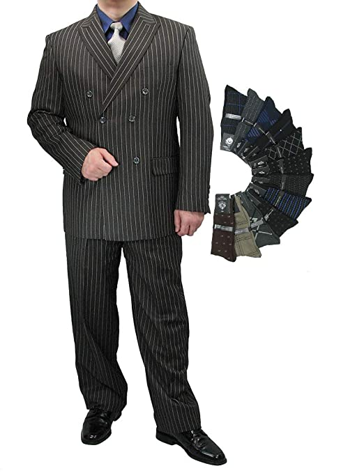 1940s Zoot Suit History & Buy Modern Zoot Suits Sharp Luxurious 2pc Mens Double Breasted Pinstripe Suit w/1 Pair of Socks $119.50 AT vintagedancer.com