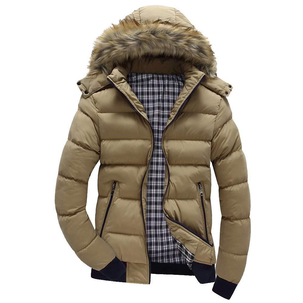 Clearance!Men Winter Warm CoatMen's Winter Warm Hooded Zipped Thick Solid Fleece Coat Cotton-Padded Jacket(L,Khaki) by Annhoo Men Winter Coat