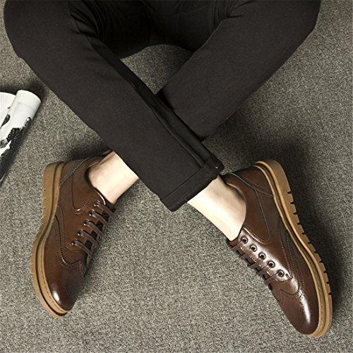 Mens Tillfälligt Arbete Spets-up Klassiska Flerfärgade Läder Vintage Oxford Shoes 17901 Brun