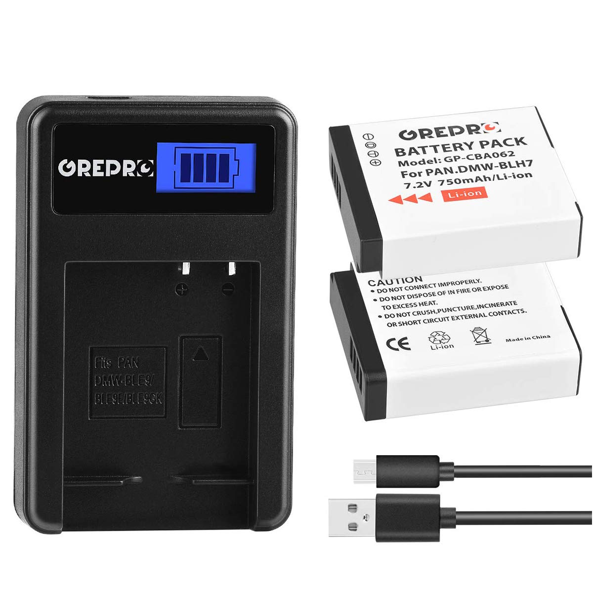 Grepro DMW-BLH7 DMW-BLH-7E Battery (2 Packs) and LCD USB Charger Kit for Panasonic DMW-BLH7, DMW-BLH7E, DMW-BLH7PP, DMC-GM1, DMC-GM1K, DMC-GX850, DMC-GM5, DMC-GF7 DMC-LX10, DMC-LX15 Cameras by GREPRO