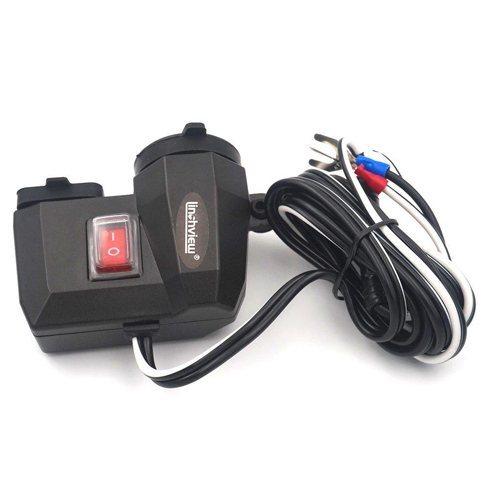 Adaptador de toma de mechero y doble puerto USB para manillar de motocicleta, de Linchview. Impermeable y con tapas en los puertos. 12 V de CC.