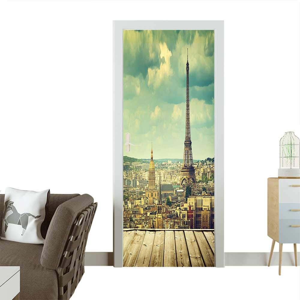 Door Sticker Wallpaper Paris Cityscape with Eiffel Tower View from A Wooden Deck Table Fashion and Various patternW36 x H79 INCH